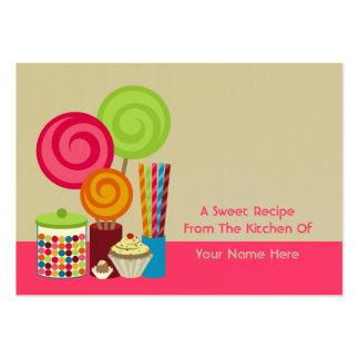 Tarjetas de la receta del caramelo y de los dulces tarjetas de visita grandes