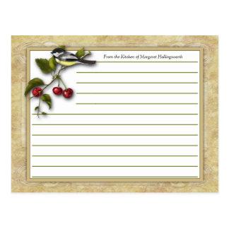 Tarjetas de la receta del Chickadee y de las Tarjeta Postal