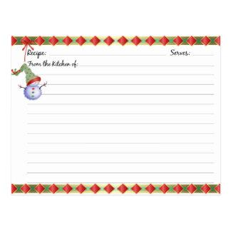 Tarjetas de la receta del día de fiesta del navida postales