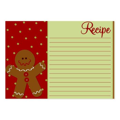 Tarjetas de la receta del hombre de pan de jengibr tarjetas de visita