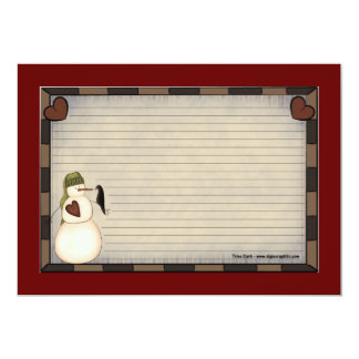 Tarjetas de la receta del navidad del país invitación