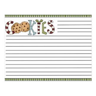 Tarjetas de la receta del navidad tarjetas postales