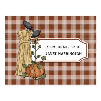 Tarjetas de la receta del otoño de la calabaza de  tarjeta postal