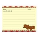 Tarjetas de la receta del pan de jengibre del navi postales