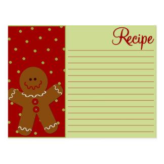 Tarjetas de la receta del pan de jengibre del postales