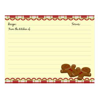 Tarjetas de la receta del pan de jengibre del tarjetas postales