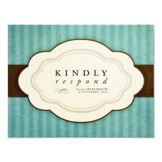 Tarjetas de la respuesta del azul y del chocolate invitaciones personales
