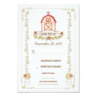 Tarjetas de la respuesta del boda del granero del invitación 8,9 x 12,7 cm