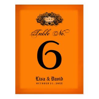 Tarjetas de la tabla del boda no - naranja y negro tarjetas postales