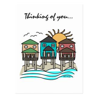 Tarjetas de las casas de playa postal