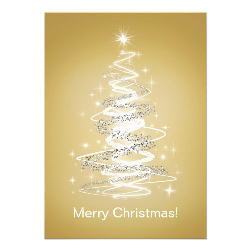 Tarjetas de las Felices Navidad con el árbol en or Comunicado Personal