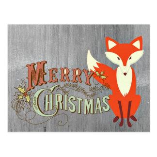 Tarjetas de las Felices Navidad del Fox gris Postal