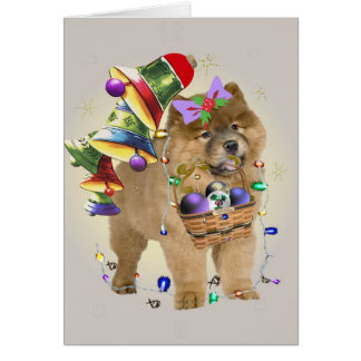 Tarjetas de las luces de navidad del perro chino d