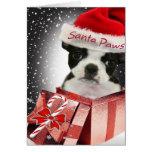 Tarjetas de las patas de Boston Terrier Santa