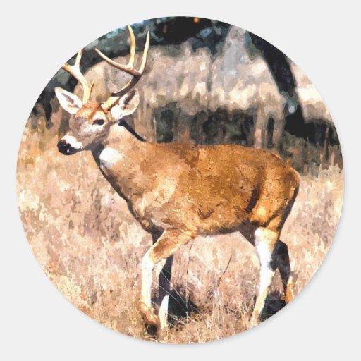 Tarjetas de los ciervos pegatina redonda