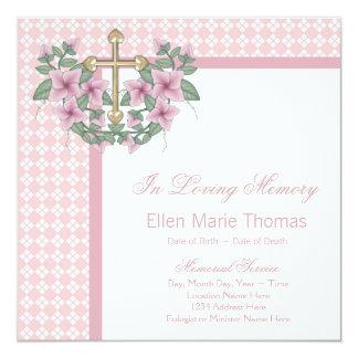"""Tarjetas de luto de la cruz color de rosa rosada invitación 5.25"""" x 5.25"""""""