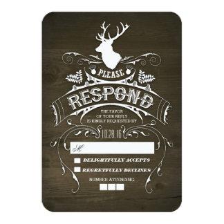 """Tarjetas de madera de RSVP de los ciervos que se Invitación 3.5"""" X 5"""""""