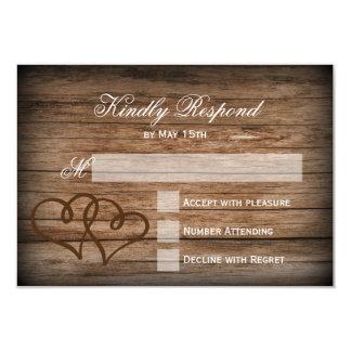 Tarjetas de madera de RSVP de los corazones que se Invitación 8,9 X 12,7 Cm