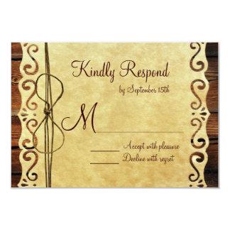 Tarjetas de madera de RSVP del boda de papel del Anuncio