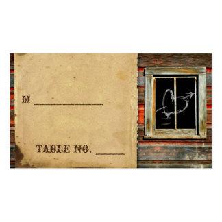 Tarjetas de madera del lugar del boda del granero tarjetas de visita