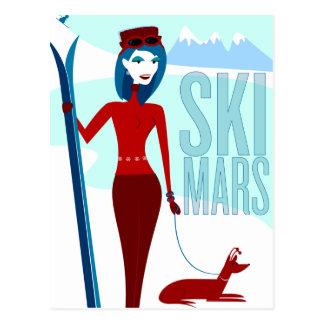 Tarjetas de Marte del esquí Postal