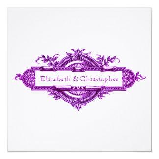 """Tarjetas de memoria púrpuras del boda del vintage invitación 5.25"""" x 5.25"""""""