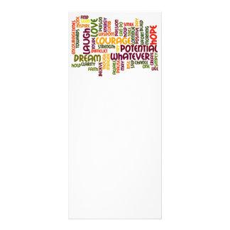 Tarjetas de motivación del estante de las palabras diseño de tarjeta publicitaria