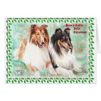 Tarjetas de Navidad alegres del collie