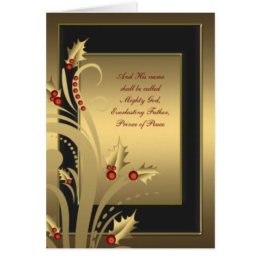 Tarjetas de Navidad cristianas del acebo negro del
