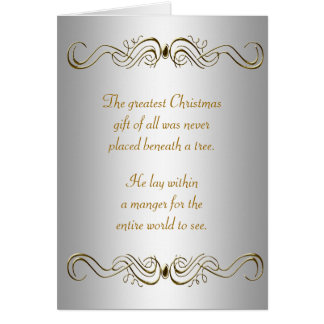 Tarjetas de Navidad cristianas del oro de plata