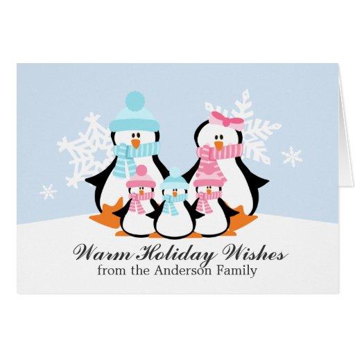 Tarjetas de Navidad de la familia del pingüino