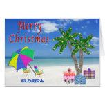 Tarjetas de Navidad de la Florida playa y palmeras