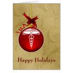 tarjetas de Navidad de la muestra del caduceo de
