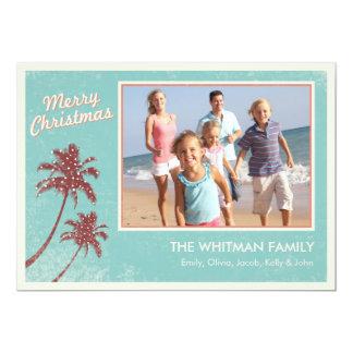 """Tarjetas de Navidad de la playa Invitación 5"""" X 7"""""""