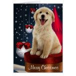Tarjetas de Navidad de oro del labrador retriever