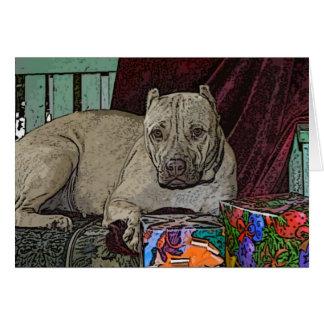 Tarjetas de Navidad de Pitbull violetas