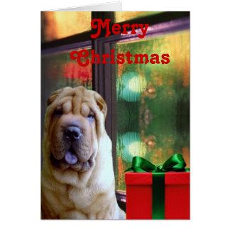 Tarjetas de Navidad de Shar-pei del chino