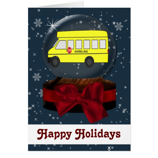 tarjetas de Navidad del autobús escolar