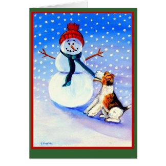 Tarjetas de Navidad del fox terrier del alambre