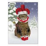 Tarjetas de Navidad del gato del bufón de Santa