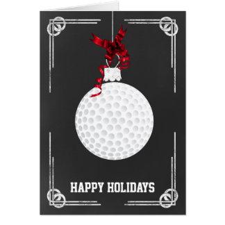 tarjetas de Navidad del golfista de la pizarra