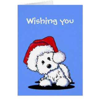 Tarjetas de Navidad del perro de KiniArt Santa Wes