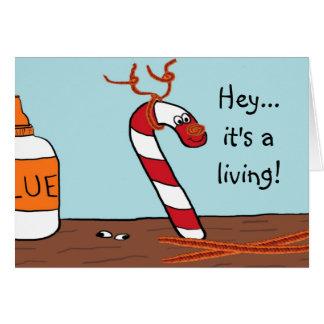 Tarjetas de Navidad del reno de Rudolph del bastón