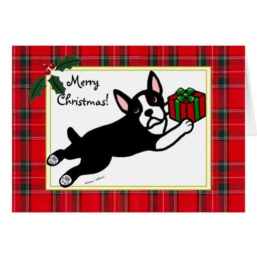Tarjetas de Navidad del tartán del dibujo animado
