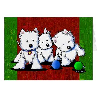 Tarjetas de Navidad del trío de Westie Terrier