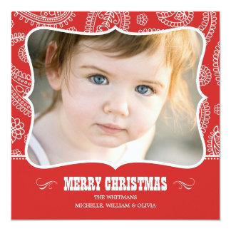 Tarjetas de Navidad del vaquero de Paisley Invitacion Personalizada