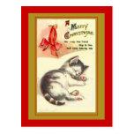 Tarjetas de Navidad dulces del vintage del gatito Postal