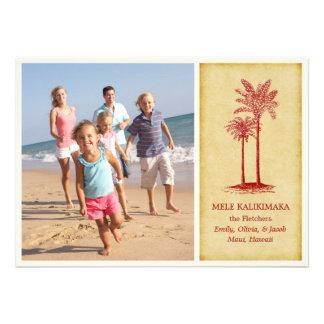 Tarjetas de Navidad hawaianas de Mele Kalikimaka Comunicado Personalizado