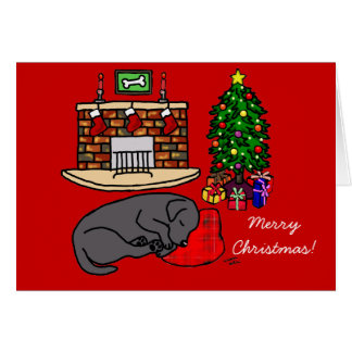 Tarjetas de Navidad negras del labrador retriever