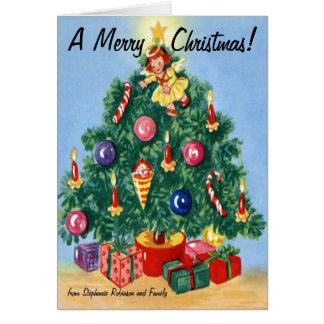 Tarjetas de Navidad personalizadas árbol retro col